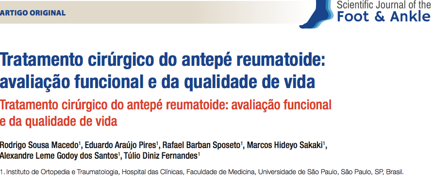 Publicação no Scientific Journal of the Foot & Ankle